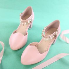 Women's Pure Color Low Heel Thick Heel Band Metal Chain Pumps