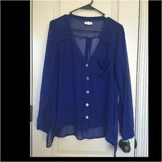 Blue chiffon blouse Transparent! W/ sparkle buttons Tops Blouses