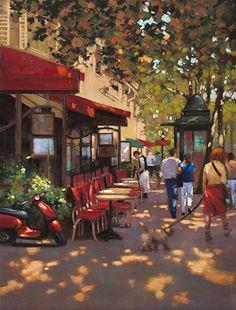 Morning Walk Paris by Teresa Saia Pastel ~ 24 x 18