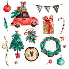 Christmas watercolor elements set Free V. Christmas Tree Graphic, Christmas Mood, Christmas Crafts, Christmas Decorations, Xmas, Christmas Stuff, New Year Illustration, Christmas Illustration, Illustrations