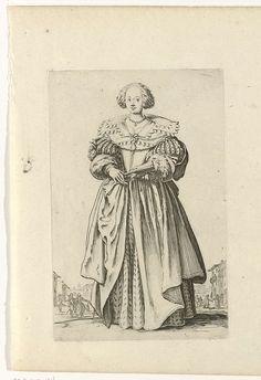 Jacques Callot | Dame met waaier, van voren gezien, iets naar links gekeerd, Jacques Callot, 1624 |