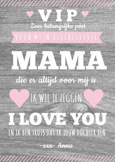 Een mooie, hippe moederdagkaart in affichestijl met leuke teksten en houtprint. De teksten kun je zelf aanpassen.