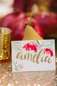 A festive place card: http://www.stylemepretty.com/louisiana-weddings/2014/12/22/happy-everything-holiday-party/ | Photography: Ashleigh Jayne - http://ashleighjayne.com/: