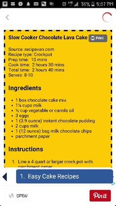 Crockpot Chocolate Lava Cake Crockpot Dessert Recipes, Crock Pot Desserts, Slow Cooker Desserts, Crockpot Dishes, Cooking Recipes, Crockpot Meals, Crock Pot Food, Crock Pot Freezer, Crock Pot Slow Cooker