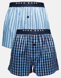 Boxershorts von Hugo Boss Gewebte Baumwolle Logoschriftzug am Bund karierte und gestreifte Designs einfacher Knopfverschluss Maschinenwäsche 100% Baumwolle Zweierset