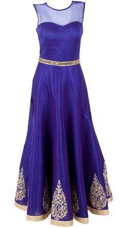 midnight blue long evening gown