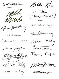 Famous Authors Autographs... the one at the top right column is the signature of Nelle Harper Lee...