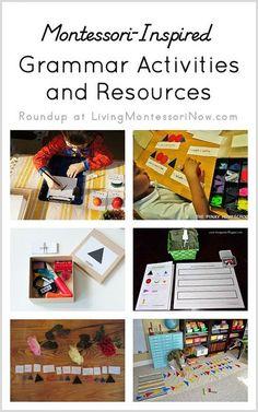 Roundup of free grammar printables plus Montessori grammar activities and resources (Montessori grammar materials for preschoolers and elementary-level students)