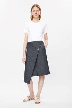 Fold-over denim skirt