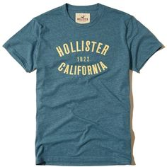 Hollister Applique Logo Graphic Tee ($20) ❤ liked on Polyvore featuring men's fashion, men's clothing, men's shirts, men's t-shirts, blue, mens crew neck t shirts, mens slim fit shirts, mens slim shirts, mens embroidered shirts and mens slim t shirts