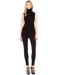 MICHAEL Michael Kors  Ribbed Sleeveless Turtleneck & Ankle-Zip Skinny Pants.