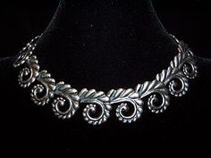 Los Castillo Vintage Mexican Silver Leaf Swirl Necklace. At Renaissance Fine Jewelry we buy, sell and collect fine antiques and jewelry. www.vermontjewel.com