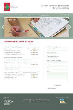 Site vitrine du cabinet d'expertise comptable CEDRE, à Dijon.  Administration via le CMS WordPress.  Particularité : interface du formulaire de demande de devis. www.cabinetcedre.fr