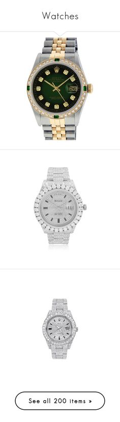"""Watches"" by kodeineshay ❤ liked on Polyvore featuring men's fashion, men's jewelry, men's watches, green, rolex mens watches, mens green watches, pre owned mens rolex watches, mens watches jewelry, mens white gold watches and mens diamond watches"
