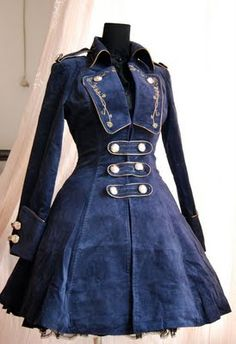Steampunk fashion coat -- The detailing are nice, even if he coat itself is a little too gothic Lolita to my taste. Moda Steampunk, Costume Steampunk, Style Steampunk, Steampunk Outfits, Victorian Steampunk, Steampunk Clothing, Steampunk Fashion, Steampunk Jacket, Victorian Coat