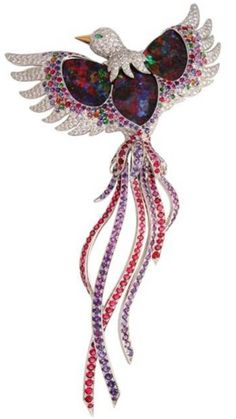 "MARCHAK - Firebird Brooch - Australian Opals, Diamonds and multicoloured gemstones. •The House of Marchak (Russian: МАРШАК) was founded by Joseph Abramovich Marchak, a young talented jeweler in 1878, in Kiev, then in Russia. Considered one of the great competitors of Fabergé at the beginning of last century and sometimes called ""The Cartier of Kiev"", the company employed 150 workers at the start of the Russian Revolution of 1917...(Wikipedia)"