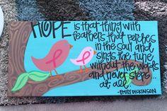 Breast Cancer Awareness Acrylic Painting. $50.00, via Etsy.