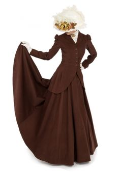Ladies Vintage Victorian style riding skirt with long jacket and full skirt Costume Hats, Costume Ideas, Cowgirl Outfits, Cowgirl Clothing, Civil War Dress, Split Skirt, Victorian Fashion, Victorian Ladies, Neo Victorian