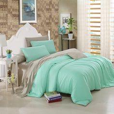 Bright Mint and Gray Luxury Pure Colored Simply Chic Vogue Noble Expensive Western Style Microfiber Tencel Full, Queen Size Bedding Sets