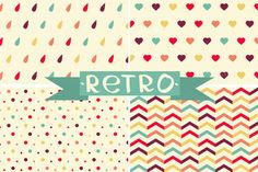 Spring retro set of pattern. by Little A (Aigul) on Creative Market