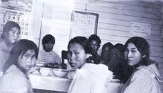"Inuit children at boarding school. The sign on the wall behind them reads, ""Please do not speak Eskimo."" (1914)"