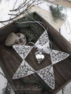 wire star - arms decorated with lace fabric, center open to hang ornament (the silver heart is nice) with tiny white bow - i can see white down feathers instead of a bow as well - Christmas decoration - nelly vintage home: Подарък за е един приятел