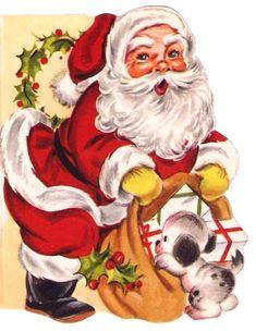 Vintage Christmas card, Santa Claus, puppy, toys.   #christmas #card #santa #retro #vintage #illustration #kitsch