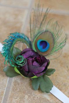 Peacock Wrist Corsage - Southern Girl Weddings