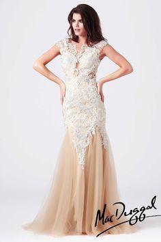 macdougal dresses   Mac Duggal Lace Mermaid Prom Dress 61567M