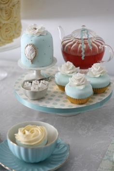 anyone for tea? gold and tiffany blue sweet table