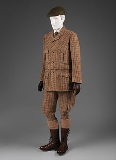 Suit (sports suit, riding or hunting) Date: 1890–1900 Culture: British Medium: wool Accession Number: 1986.106.4a–c