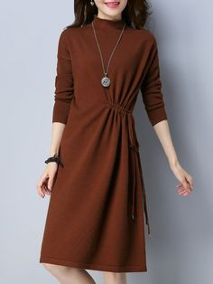 Shop Midi Dresses - Knitted Simple Gathered A-line Long Sleeve Sweater Dress online. Discover unique designers fashion at StyleWe.com.