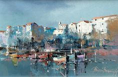 Branko Dimitrijevic, Boats in Rovinj, Oil on Canvas, 20x30cm, £260