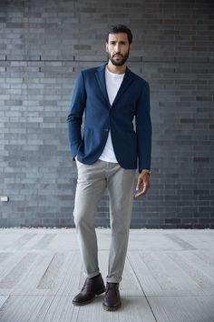 Laurier Knit Blazer in Cobalt | $145 | State Pima Cotton U-Neck in White | $35 | Newport Chinos in Dusty Grey | $55 |