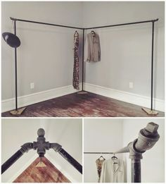 Home This post is named maximize the space: 13 nice corner closet ideas in the small room and is ful Diy Clothes Rack Pipe, Ikea Clothes Rack, Portable Clothes Rack, Wooden Clothes Rack, Hanging Clothes Racks, Diy Clothes Storage, Clothing Storage, Corner Closet, Corner Rack