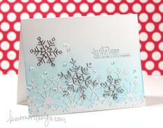 Memory Box Frostyville border die + die cut snow flakes; Mama Elephant Winter Wonderland stamp set (sentiment).  Christmas