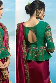 Maroon and Green Saree - Desi Royale Saree Jacket Designs, Blouse Designs High Neck, Sari Blouse Designs, Choli Designs, Fancy Blouse Designs, Bridal Blouse Designs, Stylish Blouse Design, Stylish Dress Designs, Sleeves Designs For Dresses