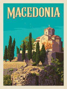 Anderson Design Group – World Travel – Macedonia Vintage Travel Posters, Vintage Postcards, Greece Art, Tourism Poster, Travel Illustration, Travel Tours, Budget Travel, Greece Travel, Spain Travel