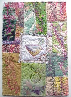 Jane LaFazio - Poke Salad Annie Series: Yellow Bird measures 17 x inches Patchwork Quilting, Applique Quilts, Art Textile, Textile Artists, Quilting Projects, Quilting Designs, Embroidery Designs, Machine Quilting, Machine Embroidery