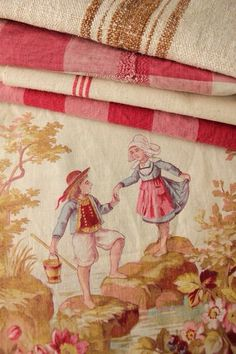 French county fabric patterns, mixing fabric patterns with pink Buffalo check fabric mixed patterns mom sofa upholstery ideas, pink buffalo check chairs and complementary fabric, mom kitchen seating,  fancy Nancy French Fabric, French Country Style, French Country Fabric, Linens And Lace, French Cottage, French Antiques, French Linens, Sofa Upholstery, Upholstery Repair