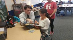 Students are getting some individualized instruction to help review math concepts w/ @josehunder. #byrampride