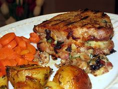 Stuffed Pork Chops. This recipe uses gouda cheese. I've never had gouda cheese but you mix it with bacon so it has to be good.