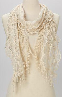 Cream lace scarf