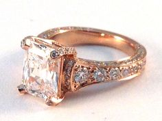 Engagement Ring - Large Radiant Cut Diamond Cathedral Graduated pave Engagement Ring 1.25 tcw. In 14K Rose Gold - ES745RARG by Heidi-Vogel