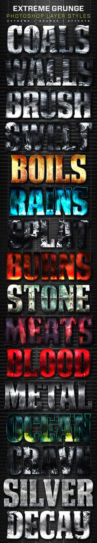 16 Extreme Grunge Layer Styles. Download here: http://graphicriver.net/item/16-extreme-grunge-layer-styles-volume-5/16479398?ref=ksioks