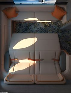 London product design firm Seymourpowell has revealed a concept for a commercial first-class aircraft cabin with private rooms that feature full-size beds (+ slideshow). Seymourpowell designed the .