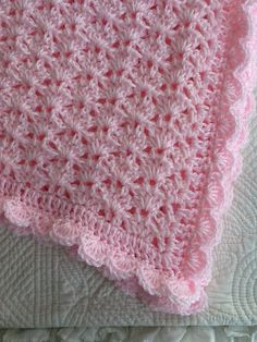 Soft and Cozy Baby Afghan in Baby Pink Pink by LakeviewCottageKids, $50.00