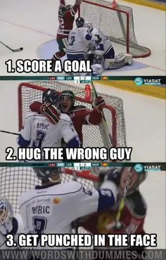 How To Get Punched In The Face:    1. Score a goal  2. Hug the wrong guy  3. Get punched in the face    Henrik Eriksson vs. Alen Bibic  Swedish Hockey League  Leksand vs. Mora