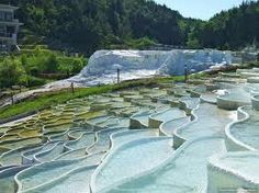 Top view of the salt hills in Egerszalók, northern Hungary -  as well as naturally forming these fantasy structures, these 65-degree thermal waters are medicinal.