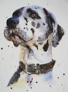 "Daily Paintworks - ""Watercolor Dog Portrait"" - Original Fine Art for Sale - © Alison Fennell"